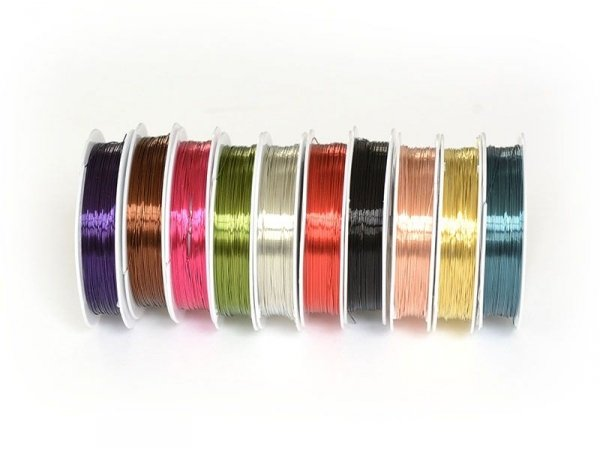 10 reels of aluminium wire (0.4 mm) - different colours