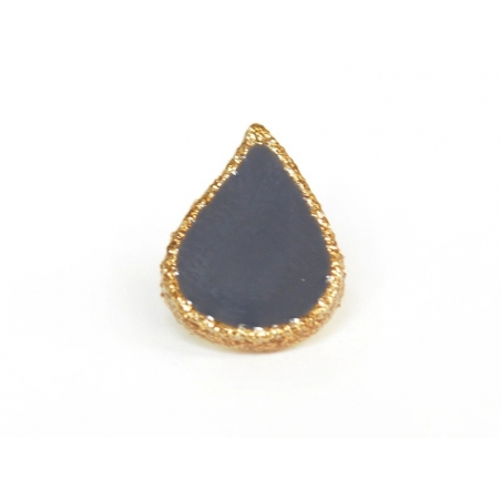 1 button in the shape of a drop - blue and gold