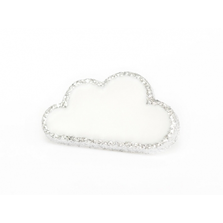 1 button in the shape of a cloud - White and silver
