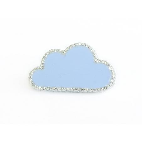 1 Bouton en forme de nuage- Bleu ciel et argenté