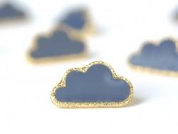 1 Bouton en forme de nuage- Bleu et doré