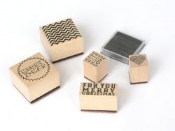 """Merry Christmas"" stamp kit (5 pcs) + ink pad"