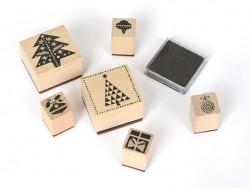 """Kit 6 tampons """"Sapin de Noel"""" + encreur Rico Design - 1"""