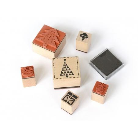 """Acheter Kit 6 tampons """"Sapin de Noel"""" + encreur - 8,40€ en ligne sur La Petite Epicerie - 100% Loisirs créatifs"""