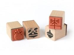 """Christmas tree"" stamp kit (6 pcs) + ink pad"