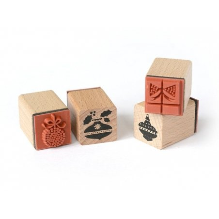"""Kit 6 tampons """"Sapin de Noel"""" + encreur"""