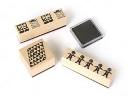 """Kit 3 tampons """"Cadeaux"""" + encreur"""