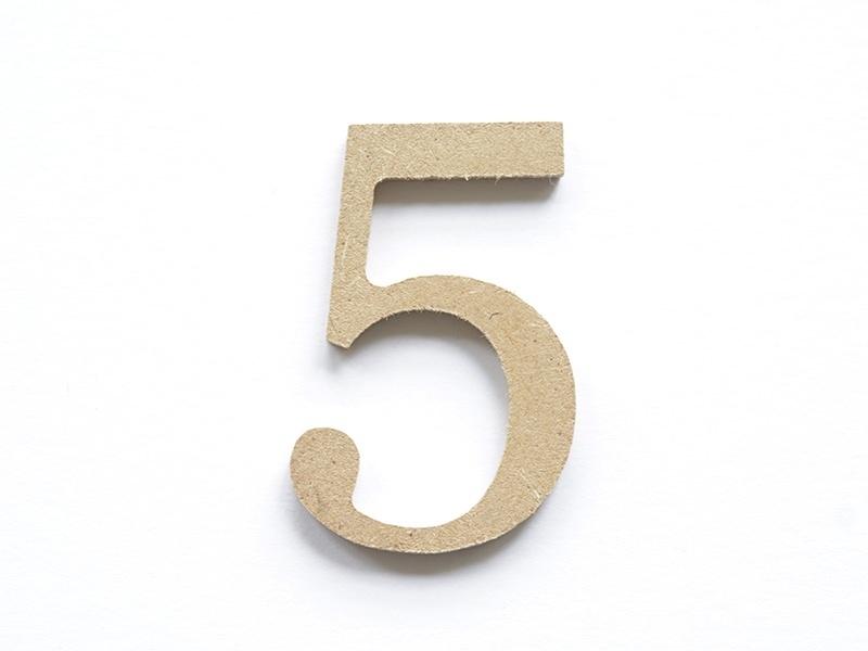 Chiffre 5 à customiser - en papier mâché