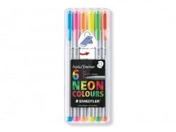 6 stylos Triplus fineliner - Fluo