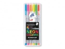 "6 ""Triplus"" fineliner pens - neon colours"