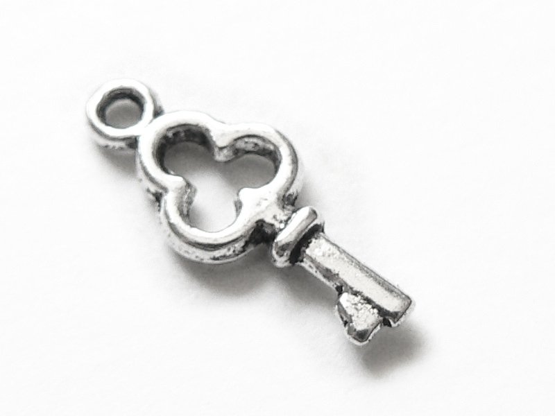 1 small, silver-coloured key charm