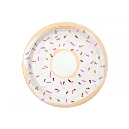 8 round paper plates (23 cm) - Doughnuts
