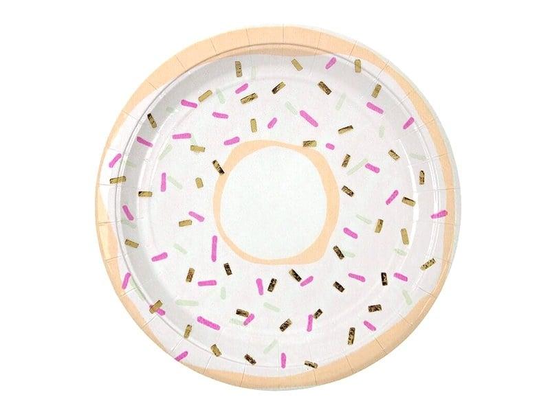 8 assiettes en papier rondes 23cm - Donuts