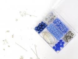 KIT Bijoux - mélanges de perles  Bleu