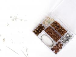 KIT Bijoux - mélanges de perles Brun