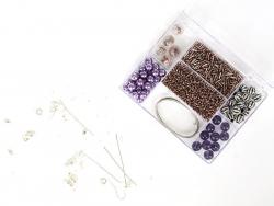 Schmuckset - fliederfarbener Perlenmix