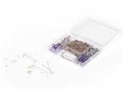 KIT Bijoux - mélanges de perles Prune