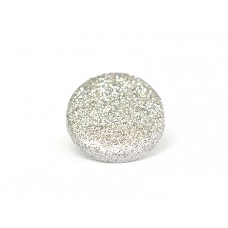 1 round glitter button - silver-coloured