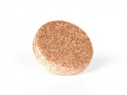 1 round glitter button - golden / copper-coloured