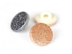 1 Bouton rond pailletté - doré / cuivre