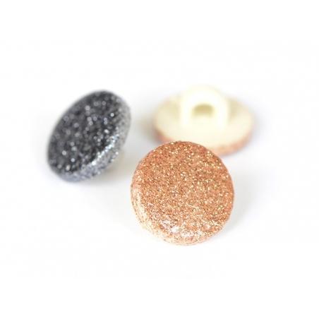 1 round glitter button - black