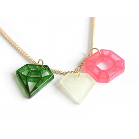 Collier Diamants - rose et vert Meri Meri - 1