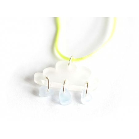 Cloud and raindrops necklace