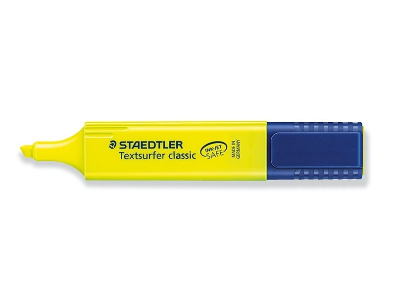 Yellow highlighter with a chisel tip - 1 to 5 mm