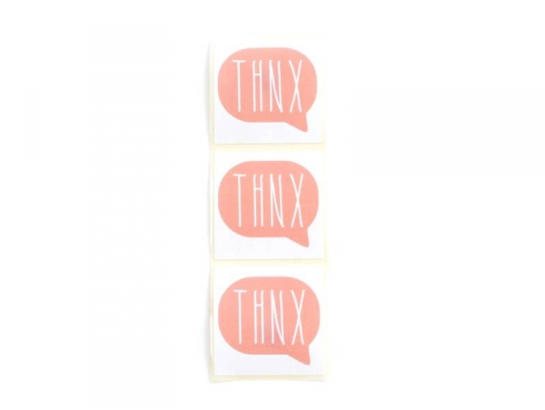 """3 stickers bearing the word """"Thnx"""" - coral red"""
