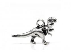 1 breloque dinosaure argentée
