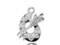 1 light silver-coloured palette charm