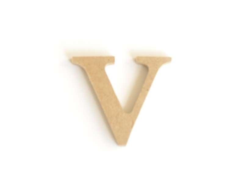 Lettre v en kraft à customiser - en papier mâché
