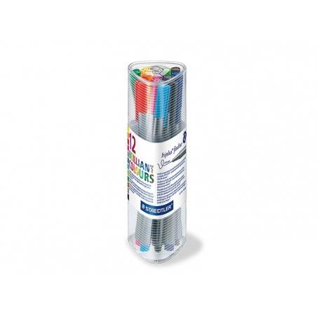 """Pen case containing 12 Triplus fineliners - """"Brilliant Colours"""""""