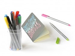 "Pen case containing 12 Triplus fineliners - ""Brilliant Colours"""