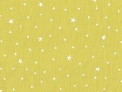 Tissu polycoton étoiles - Fenouil