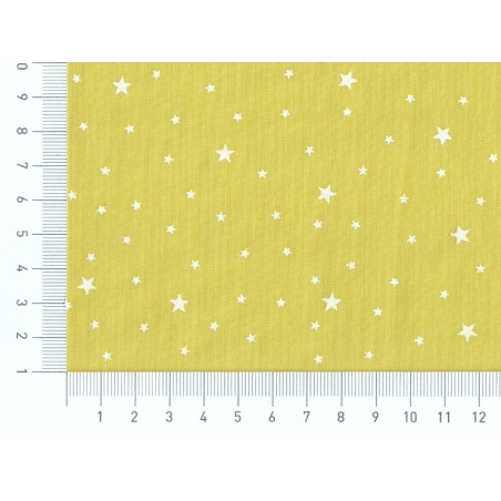 Star-printed cotton blend fabric - Fennel green