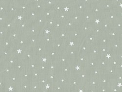 Star-printed cotton blend fabric - White grey caviar