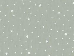Stoff aus Baumwollmischgewebe mit Sternenmotiv - Pfeffergrau und weiß
