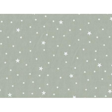 Star-printed cotton blend fabric - White grey caviar