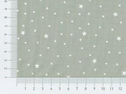 Tissu polycoton étoiles - Poivre blanc