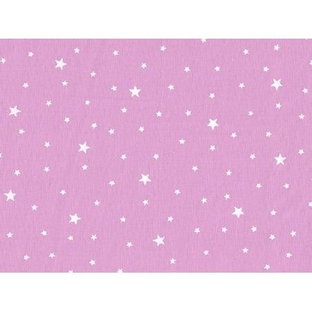 Tissu polycoton étoiles - rose guimauve