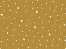 Tissu polycoton étoiles - jaune moutarde
