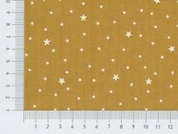 Stoff aus Baumwollmischgewebe mit Sternenmotiv - Senfgelb