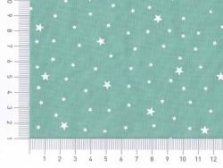 Tissu polycoton étoiles - Menthe glacée