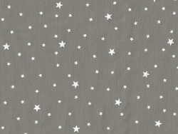 Star-printed cotton blend fabric - Grey caviar