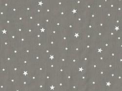 Stoff aus Baumwollmischgewebe mit Sternenmotiv - Kaviargrau