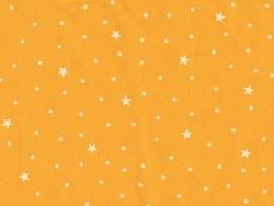 Tissu polycoton étoiles - orange mangue