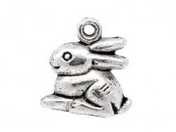 1 Breloque petit lapin argenté