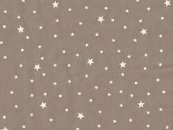 Stoff aus Baumwollmischgewebe mit Sternenmotiv - Nussbraun