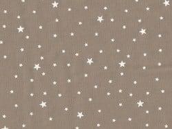 Tissu polycoton étoiles - Noix